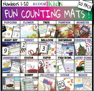 FUN COUNTING MATS 20 pack BUNDLE, Pre-k, kindergarten count 1-20!